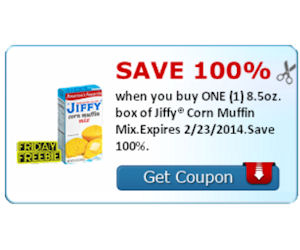Get a 100% Back on a 8.5oz of Jiffy Corn Muffin Mix = Free Box