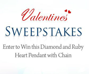 Win a Diamond and Ruby Heart Pendant