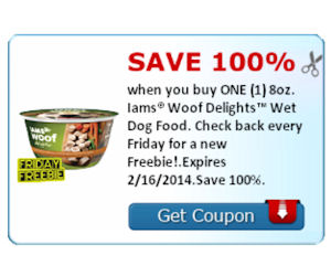 100% Back on Iams Woof Delights Wet Dog Food = Free