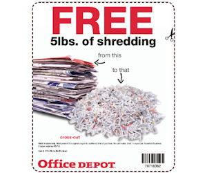Office Depot - Coupon Valid for Free 5lbs. of Shredding